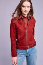 Second Female Lombardo Suede Biker Jacket Red Pink