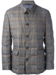Etro Checked Padded Jacket Brown
