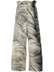 Dondup Graphic Print Cropped Trousers Black