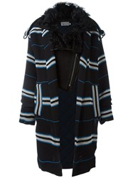 Preen By Thornton Bregazzi 'Lindner' Fur Collar Coat Blue