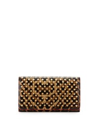 Christian Louboutin Macaron Spiked Patent Wallet Leopard Brown Golden Women's Brown Gold