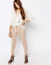 Pull And Bear Chino With Belt Pink