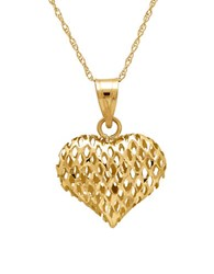 Lord And Taylor 14K Gold Perforated Heart Pendant Necklace Yellow Gold