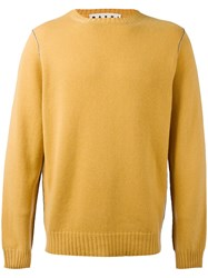 Marni Contrast Top Stitch Sweater Yellow Orange