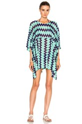 Missoni Mare Short Caftan In Green Stripes Green Stripes