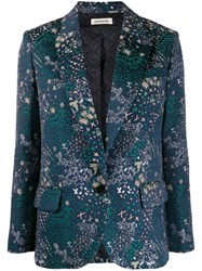 Zadig And Voltaire Viking Jac Star Embroidered Blazer Blue