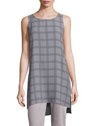 Eileen Fisher Plaid Cashmere And Merino Wool Blend Tunic Maple Oat