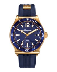 1898 Rubber Strap Sport Watch Blue Salvatore Ferragamo Navy