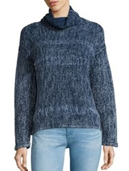Ag Jeans Indigo Capsule Collection By Quad Cotton And Wool Turtleneck Sweater Indigo Knit Dye Ttr