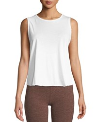 Beyond Yoga All About It Cropped Tank White