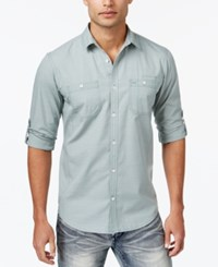 Inc International Concepts Men's Long Sleeve Work Stripe Shirt Only At Macy's Green Dust