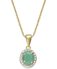 Victoria Townsend 18K Gold Over Sterling Silver Necklace Emerald 1 Ct. T.W. And Diamond Accent Oval Pendant