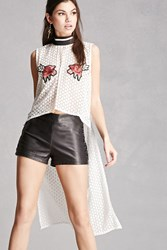 Forever 21 Floral Patched High Low Top White