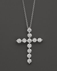 Bloomingdale's Diamond Cross Pendant In 18K White Gold 1.5 Ct. T.W. No Color