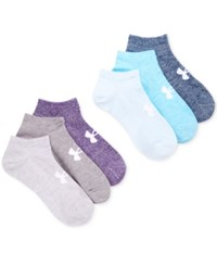 Under Armour Women's 6 Pack Liner No Show Socks Purple Heather Assorted