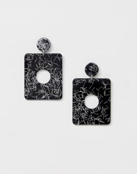 Missguided Resin Square Drop Earrings In Mono Multi