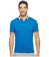 Lacoste Short Sleeve Semi Fancy Slim W Textured Stripe Collar Slim Sapphire Blue Deauville Blue Men's Clothing
