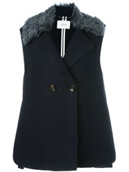 Dorothee Schumacher Double Breasted Waistcoat Blue
