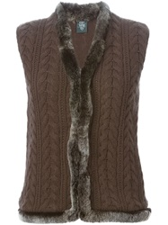 Eleventy Rabbit Fur Trim Sleeveless Cardigan Brown