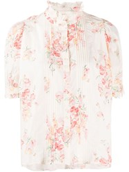 The Great Great. Floral Print Ruffled Neck Blouse Pink