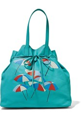 Sophie Anderson Minca Printed Leather Tote Turquoise