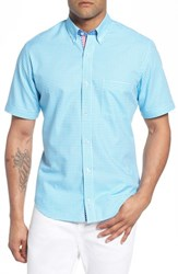 Tailorbyrd Big And Tall Aven Regular Fit Gingham Sport Shirt Aqua