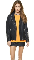 Alexander Wang Waxy Leather Bf Motorcycle Jacket Ink