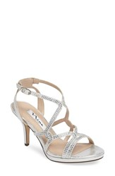Nina Women's Varsah Crystal Embellished Evening Sandal Silver Faux Suede