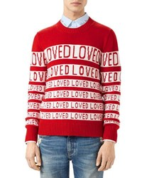 Gucci Wool Loved Jacquard Sweater Red