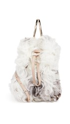 Maison Boinet Small Shearling Bucket With Metal Rings Ivory