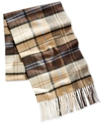 Club Room Men's Khaki Plaid Cashmere Scarf Only At Macy's
