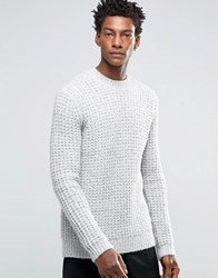 Asos Heavyweight Jumper With Chunky Neck Trim Grey