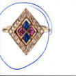 Sabine Getty 18K White Gold White Diamonds 0.18 Cts Blue Sapphires 0.15 Cts And Pink Sapphires 0.15 Cts Ring F32 Multi