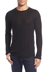 Men's John Varvatos Star Usa Ribbed Crewneck Wool Blend Sweater Black