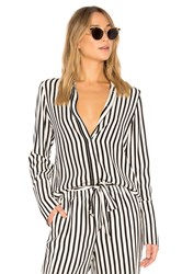 Frame Long Cuff Pj Blouse Black And White