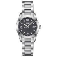 Longines L22854566 Women's Conquest Classic Automatic Date Bracelet Strap Watch Silver Black