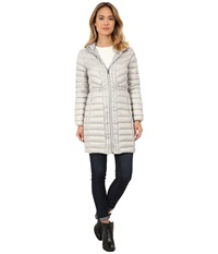 Cole Haan Chevron Quilted Hooded Single Breasted Lightweight Packable Down Silver Women's Coat
