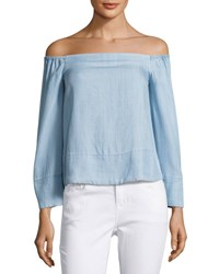 Rachel Roy Off The Shoulder Chambray Top Light Blue