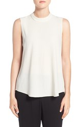 Eileen Fisher Women's Silk Crepe High Neck Sleeveless Blouse Bone