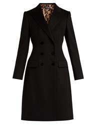 Dolce And Gabbana Double Breasted Wool Cashmere Blend Coat Black
