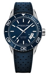 Raymond Weil Freelancer Diver Automatic Rubber Strap Watch 43Mm Blue