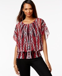 Style And Co. Flutter Sleeve Banded Hem Top Only At Macy's Red Multi