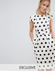 Closet London Polka Dot Cap Sleeve Midi Dress Black White