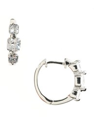 Lord And Taylor Platinum Plated Sterling Silver Cubic Zirconia Huggie Hoop Earrings