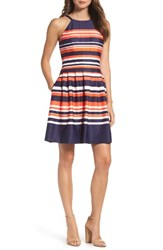Vince Camuto Women's Halter Fit And Flare Dress Pink Multi