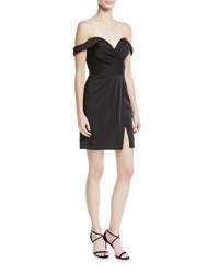 Faviana Off The Shoulder Faille Fitted Mini Cocktail Dress Black