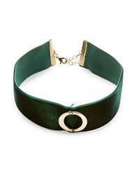 Design Lab Lord And Taylor Circle Pendant Velvet Choker Necklace Green