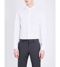 Joseph Slim Fit Brushed Cotton Shirt White