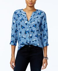 Tommy Hilfiger Butterfly Print Blouse Only At Macy's Chambray Multi