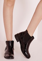 Missguided Patent Brogue Detail Ankle Boot Black Black
